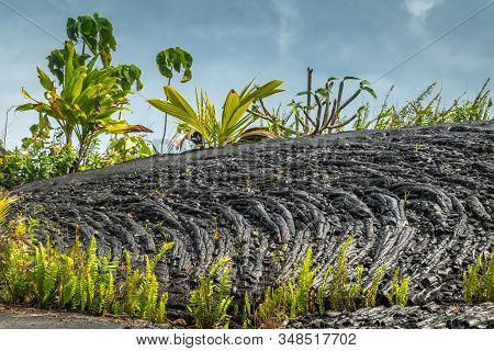Kaimu Beach, Hawaii, Usa. - January 14, 2020: Hardened Black Lava Field Off Kilauea Volcano Eruption