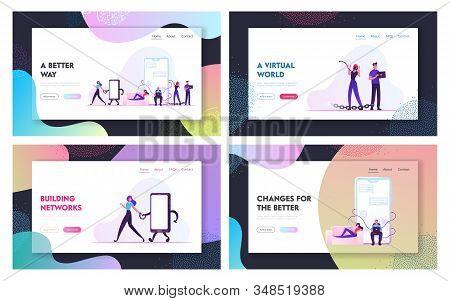 Internet Addiction, People Living In Virtual World Website Landing Page Set. Men And Women Having Ga