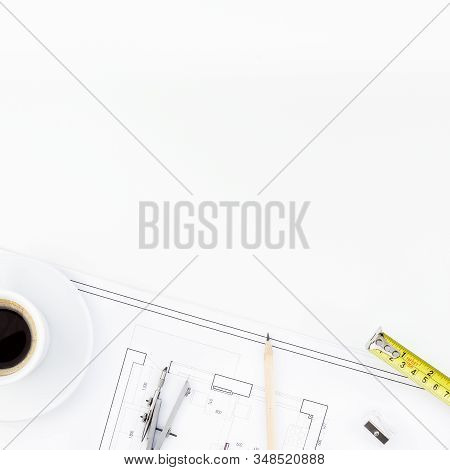 Creative Flat Lay Overhead Top View Blueprint Flat Project Plan Hot Coffee Cup And Office Supplies O