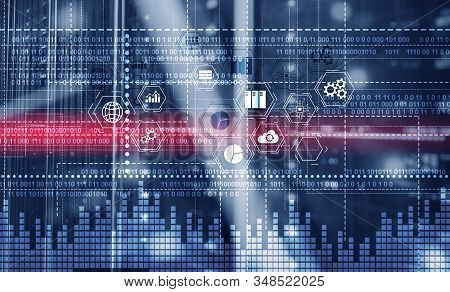Binary Code. Ict - Information And Telecommunication Technology And Iot - Internet Of Things Concept
