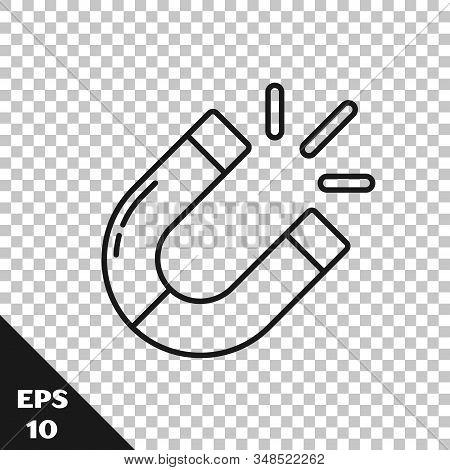Black Line Magnet Icon Isolated On Transparent Background. Horseshoe Magnet, Magnetism, Magnetize, A