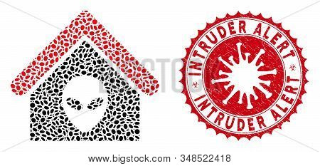 Mosaic Alien Home Icon And Red Round Rubber Stamp Seal With Intruder Alert Text And Coronavirus Symb