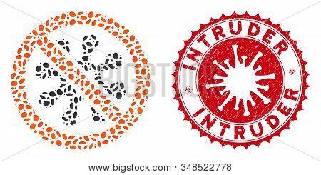 Mosaic Antivirus Icon And Red Round Grunge Stamp Watermark With Intruder Phrase And Coronavirus Symb