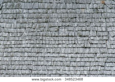 Texture Of Old Wood Shingles. Old Wooden Shingles For Creative Background