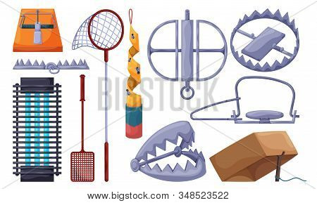Trap For Animal Vector Illustration On White Background . Metal Pitfall Isolated Cartoon Set Icon. V