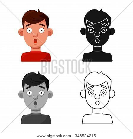 Vector Illustration Of Guy And Fright Sign. Set Of Guy And Surprise Vector Icon For Stock.