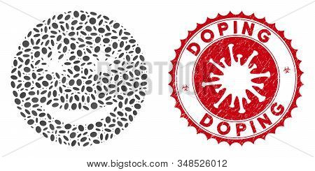 Mosaic Cannabis Smiley Smile Icon And Red Rounded Grunge Stamp Seal With Doping Text And Coronavirus