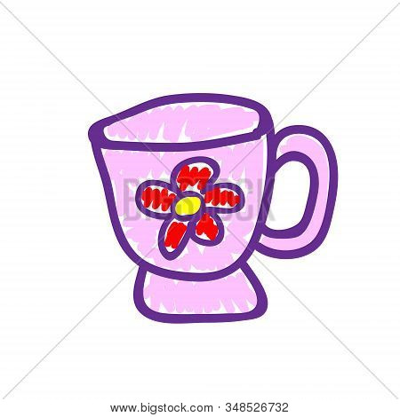 Pink Tea Cup With A Picture Of A Flower In A Deliberately Childish Style. Child Drawing. Sketch Imit