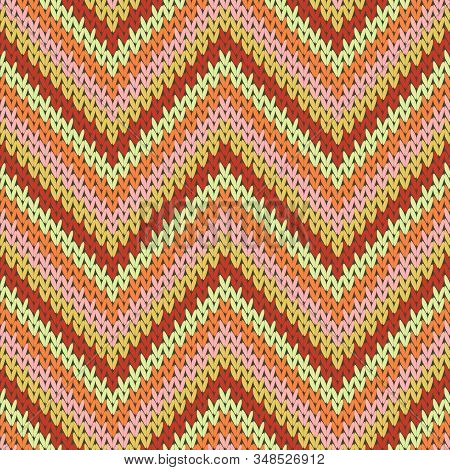 Fashionable Zigzag Chevron Stripes Christmas Knit Geometric Vector Seamless. Plaid Stockinet Ornamen