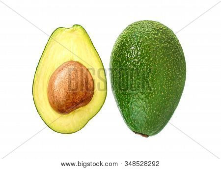 Avocado Isolated On White. One Whole Avocado And One Half With A Bone.  Top View.