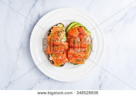 Smoked Salmon Ricotta Cheese Avocado Rye Sandwich