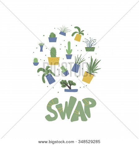 Swap Emblem. Round Indoor Plants Composition. Set Of Potted House Plants. Collection Of Hand Drawn H
