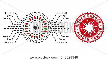 Mosaic Digital Casino Roulette Icon And Red Rounded Corroded Stamp Watermark With Hidden Danger Capt