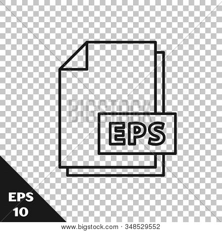 Black Line Eps File Document. Download Eps Button Icon Isolated On Transparent Background. Eps File