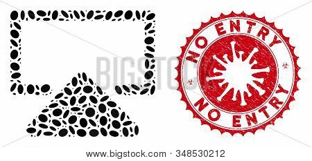 Mosaic Enter Icon And Red Rounded Rubber Stamp Seal With No Entry Phrase And Coronavirus Symbol. Mos
