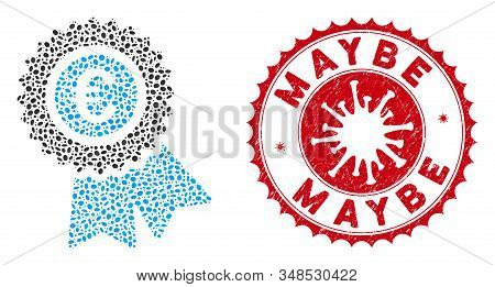 Mosaic Euro Warranty Icon And Red Rounded Rubber Stamp Seal With Maybe Caption And Coronavirus Symbo