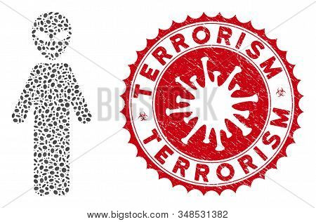 Mosaic Happy Alien Person Icon And Red Round Rubber Stamp Seal With Terrorism Caption And Coronaviru
