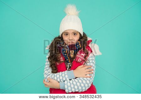 Stay Active. It Is Cold Outside. Kid Warm Knitwear. Winter Vibes. Portrait Of Girl Hipster. Youth St