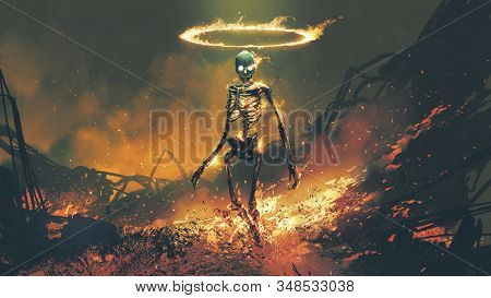 Horror Character Of Demon Skeleton With Fire Flames In Hellfire, Digital Art Style, Illustration Pai