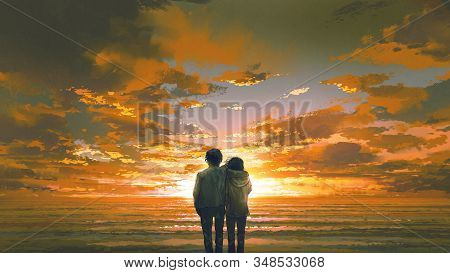 Beautiful Scenery Of Young Couple Looking At Sunset Beach, Digital Art Style, Illustration Painting