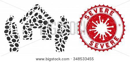 Collage Realty Insurance Hands Icon And Red Rounded Distressed Stamp Seal With Severe Text And Coron