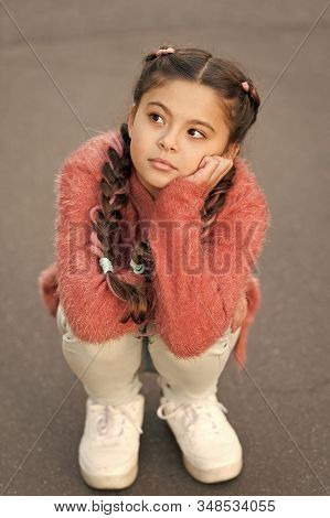 Autumn Depression. Girl Little Kid Sad Face Dislike Something. Kid Unhappy Small Baby. Reasons Why K