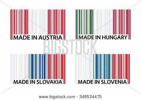 Set Of Four Bar Code Symbols Made In Austria, Made In Hungary, Made In Slovakia And Made In Slovenia