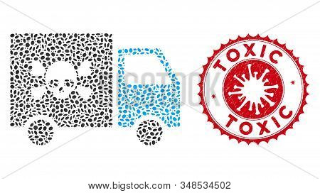 Mosaic Toxic Transportation Car Icon And Red Rounded Distressed Stamp Seal With Toxic Text And Coron