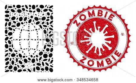 Mosaic World Passport Icon And Red Round Grunge Stamp Watermark With Zombie Phrase And Coronavirus S