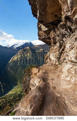 Pathway And Rock Face, Mount Saksarayuq, Andes Mountains, Choquequirao Trekking Trail Near Machu Pic