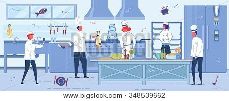 Fish Or Seafood Restaurant Cook Room Interior Background With Professional Cooks And Chefs, Men And