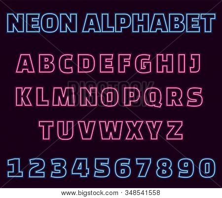 Neon English Alphabet On Purple Background. Glowing Pink Uppercase Letters And Blue Numbers Sign For