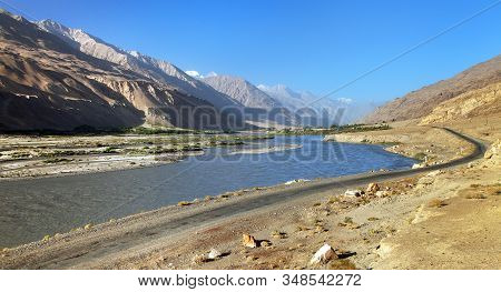 Panj River And Pamir Mountains. Panj Is Upper Part Of Amu Darya River. Panoramic View.tajikistan And