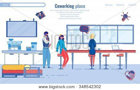 Coworking Space In Modern Young Company, Cartoon. Practical Worktop For Several Workers At Once. Gir