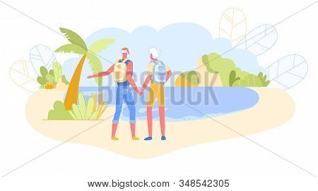 Couple Of Active Pensioners With Backpacks Standing On Seaside Rear View Looking On Beautiful Seasca