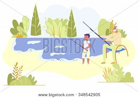 Grandfather And Grandson Sitting On Pond Coast Fishing With Rods At Sunny Summertime Day On Nature L