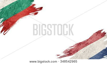 Flags Of Bulgaria And Nederland On White Background