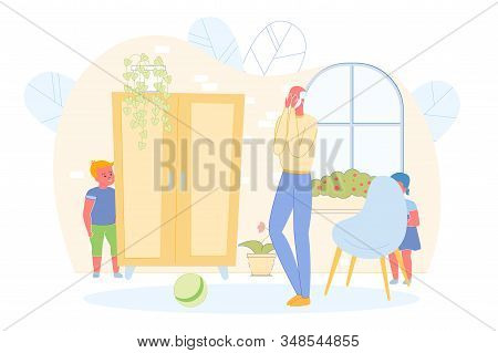 Children Playing Hide And Seek With Grandfather At Home Flat Cartoon Vector Illustration. Girl Hidin