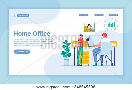Arranging Small Home Office And Organizing Time Wisely To Make Money Not Leaving House. Father Worki