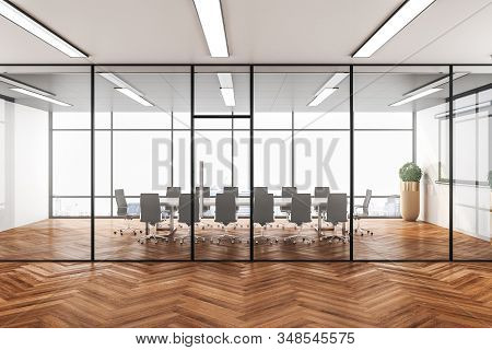 Luxury Conference Office Room With City View And Wooden Floor. Workplace And Lifestyle Concept. 3d R