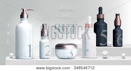 Vector 3d Elegant Cosmetic Products Set Background Premium Cream Jar For Skin Care Products. Luxury
