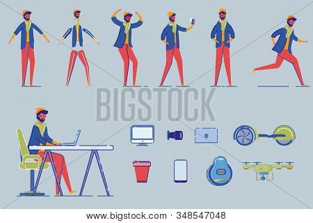 Fashion Man - Programmer, Freelancer Or Designer Cartoon Character In Different Poses And Gestures S