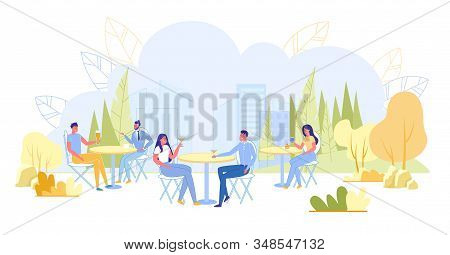 People Having Rest Outdoor Flat Cartoon Vector Illustration. Couple Sitting At Table And Drinking Co