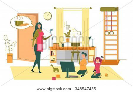 Happy Family Every Day Routine And Relations. Young Mother Wearing Apron Holding Ladle Call Children