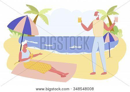 Aged Couple Relaxing On Sandy Sea Beach. Senior Woman Lying Under Canopy On Blanket, Old Man Bringin