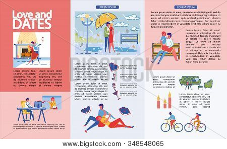 Infographics Written Love And Dates, Cartoon. Couple In Love Dancing Tango Near Burning Fireplace. R