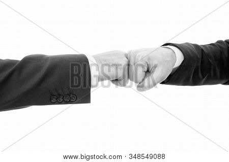 Impact For Innovations. Hands Fists Of Business People Touch In Gesture. Good Job Symbol. Type Of Ha