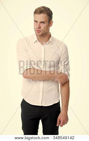 White Collar Worker. Man Well Groomed Formal Elegant Shirt White Background. Guy Handsome Office Wor