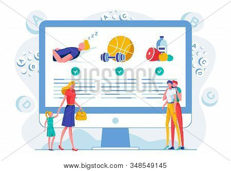 Healthy Lifestyle Webpage Flat Vector Illustration. Wellbeing Principles Educational Online Course.