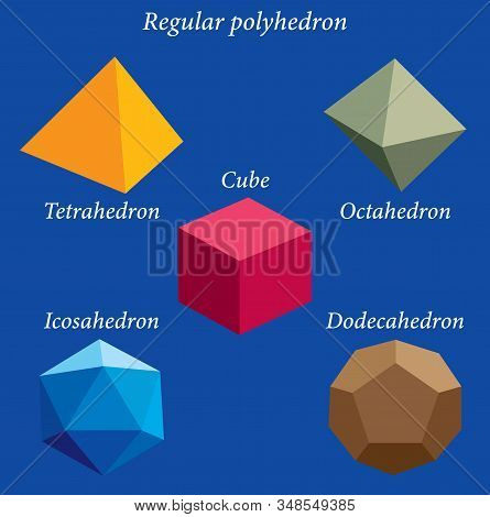 Set Of Volumetric Geometrical Colored Shapes. Regular Polyhedron. Vector Illustration